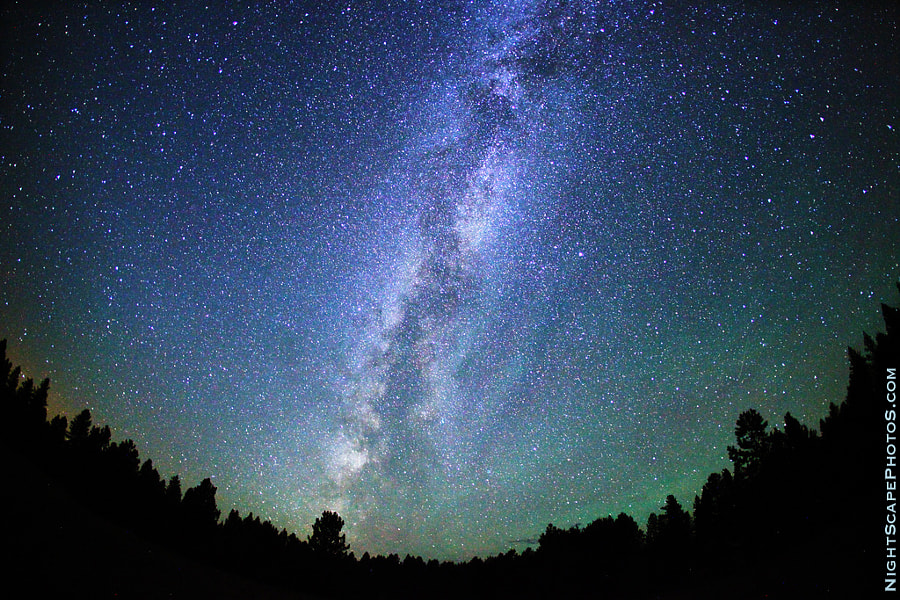 """A big, starry night sky - stars in the Milky Way on a clear, bright night near McCall, Idaho USA. This is a very wide angle view (180-degree fisheye) of the evening sky -- almost 1/2 the night hemisphere in a single exposure. I love astronomy and looking into the heavens to see the galaxies, constellations, and nebula. McCall is a great place to get away from all the light pollution of the city!  Virtually all my NightScapes are ONE exposure (less than 30 seconds), and with very little Photoshop correction. For more how-to and behind the scenes information, visit my <a href=""""http://intothenightphoto.blogspot.com/"""">Into The Night Photography</a> blog. For Milky Way photography workshops, visit my <a href=""""http://intothenightphoto.blogspot.com/2013/11/royce-bairs-2014-photography-workshop.html"""">NightScape Events</a> page. You can <a href=""""http://roycebair.smugmug.com/Personal-Work/Nightscapes/"""">order PRINTS here</a>."""