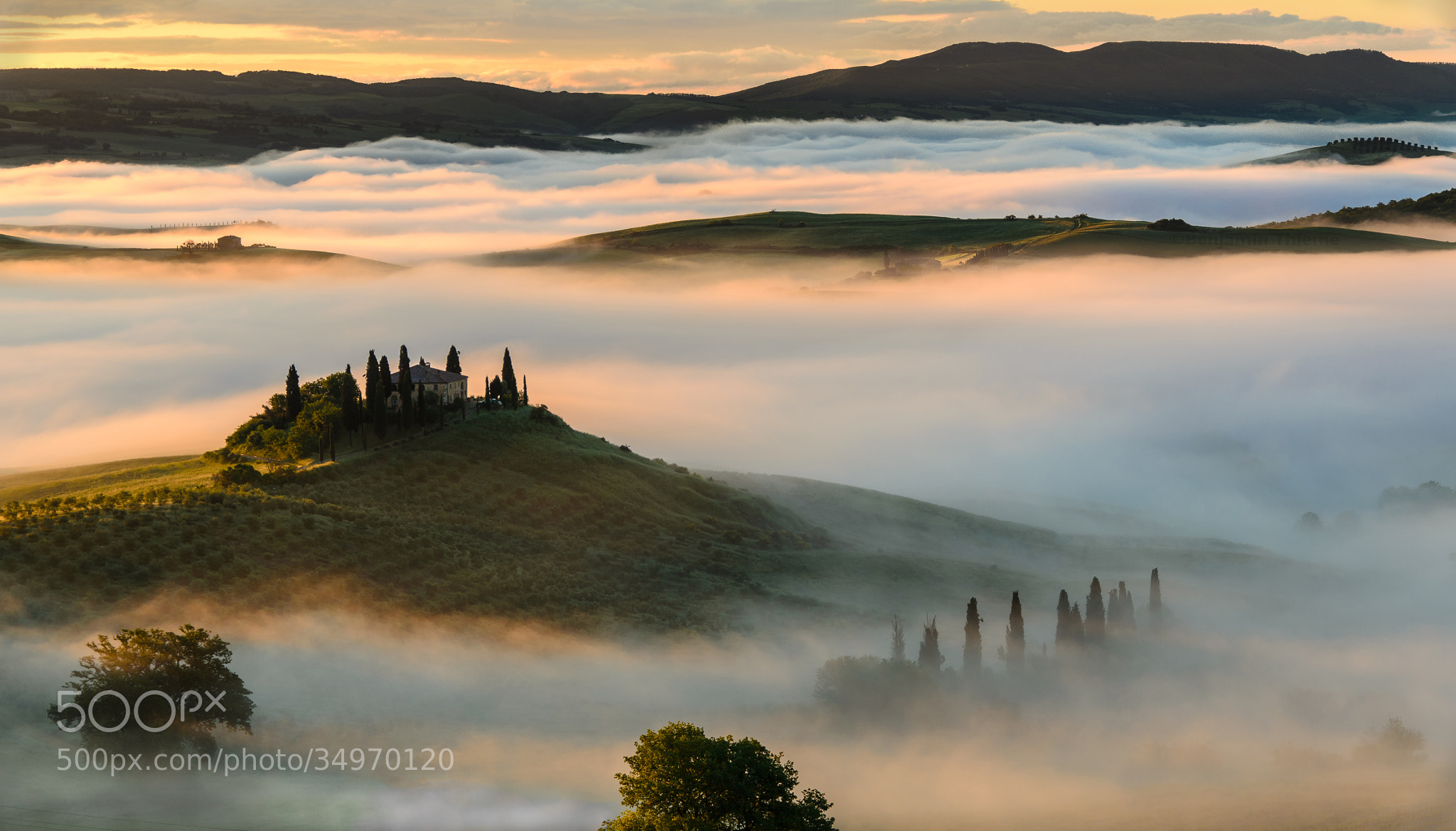 Photograph Golden Sunrise in Tuscany by Benjamin Thieme on 500px