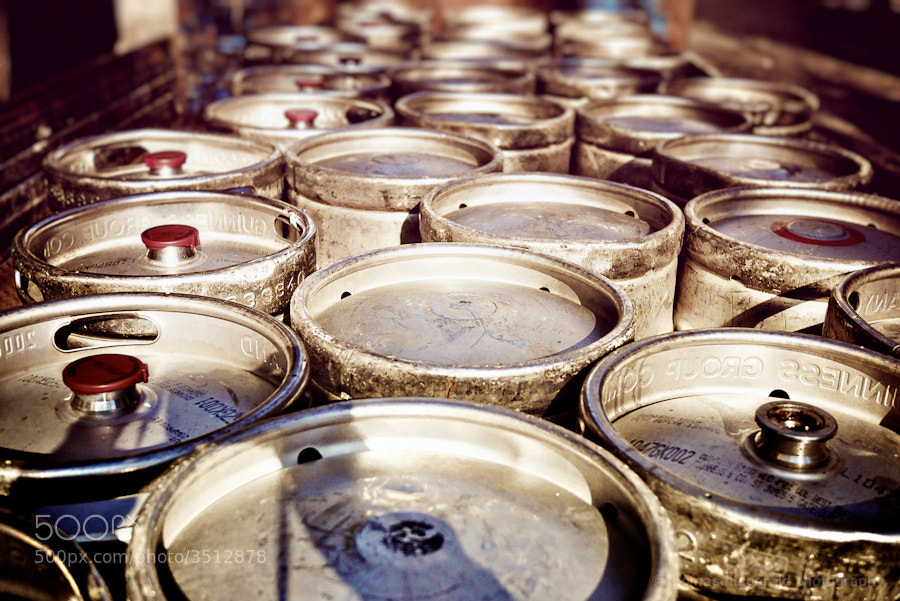 Used beer kegs await collection