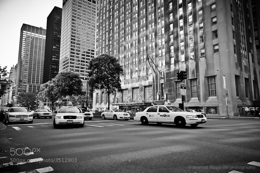 Cabs at a junction in NYC