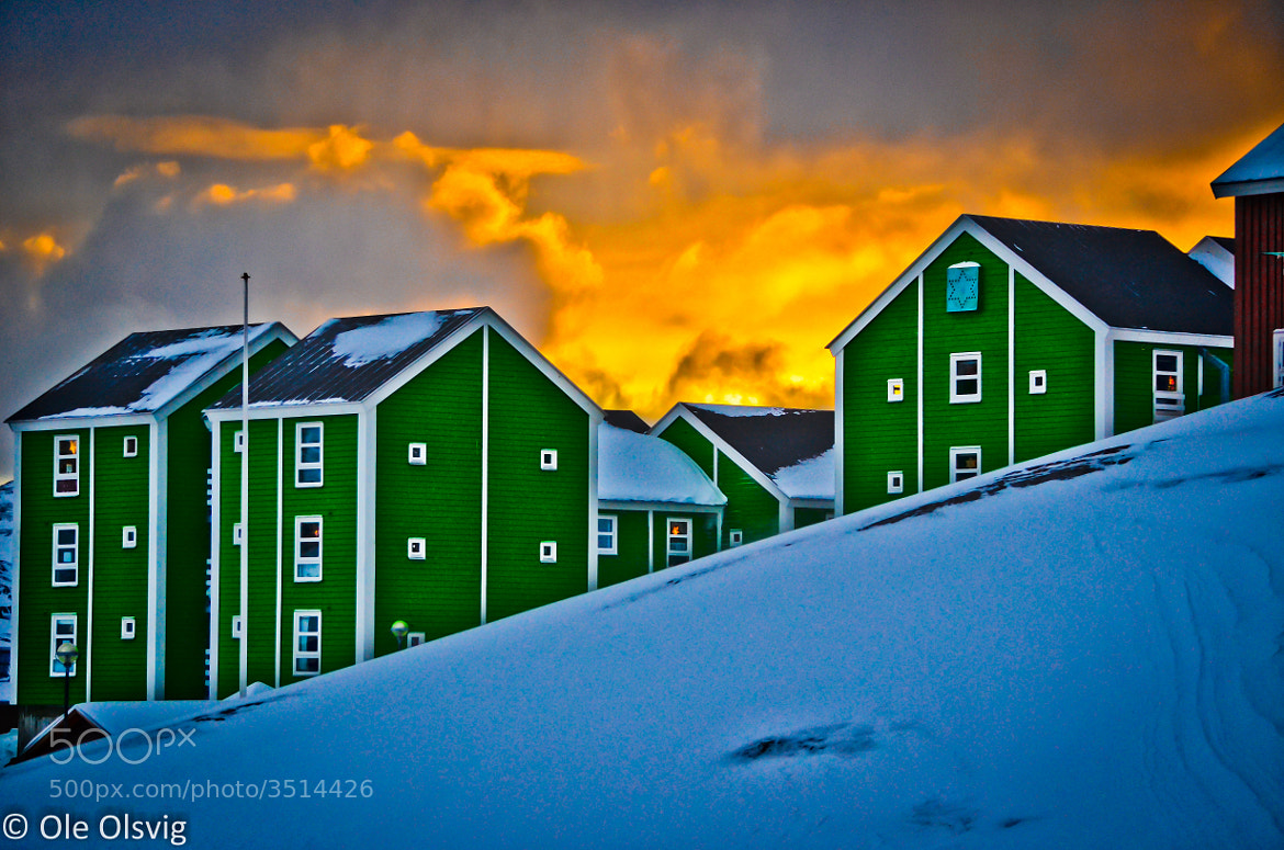 Photograph Houses in front of the Firesky by Ole Olsvig on 500px
