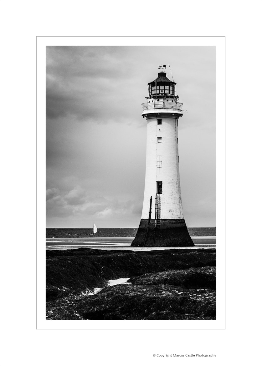 Photograph New Brighton Lighthouse Sailboat BW by Marcus Castle on 500px