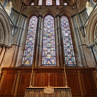A view of the east window of Ely Cathedral, located behind the high altar in this stunning 11th-13th century cathedral.