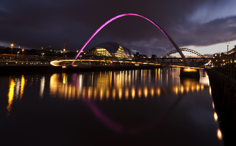 An evening shot from the Quayside at Newcastle-upon-Tyne.