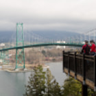 The Lions Gate Bridge, with Stanley Park's Prospect Point in the foreground. The bridge, completed in 1938, links Vancouver to the North Shore.