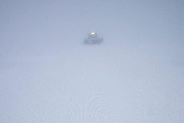 Snowplow on white