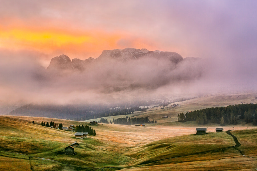 Dolomites - early morning sun in October
