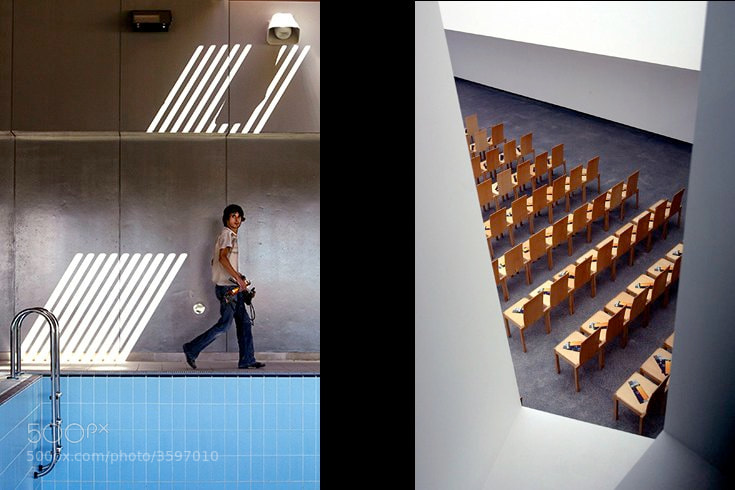 Left: Swimming pool. Right: Pavilhão de Portugal de Hannover, Coimbra, Portugal.
