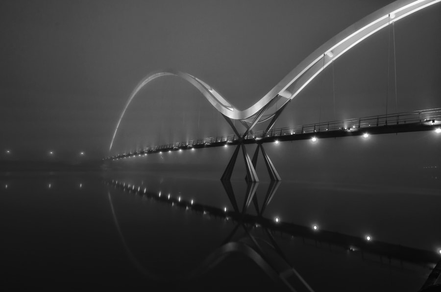 A freezing cold fog-shrouded evening at The Infinity Bridge in Stockton -on-Tees.