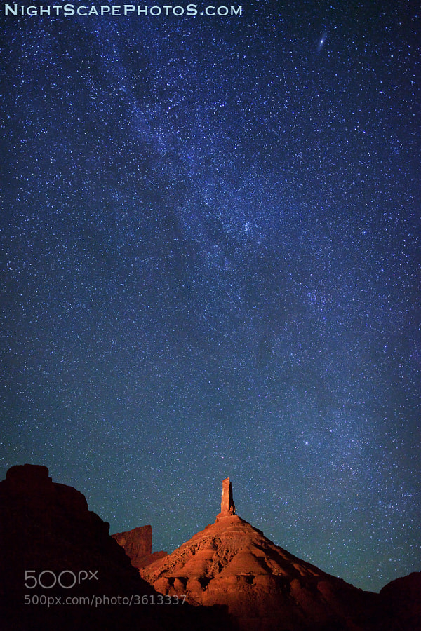 "Starry night sky and the northern tail of the Milky Way over Castle Rock, a sandstone monument in Castle Valley, Utah (about 16 miles northeast of Moab). The top portion of this light-painted monument is called Castleton Tower -- a 400-foot (120 m) sandstone tower standing on a 1,000 foot talus cone, rising a total of 1,400 feet (427 m) above the valley. <a href=""http://www.flickr.com/photos/ironrodart/6351186051/"">Here is a 3D map showing how we light paint and photographed this 1,400 foot monument</a>. The 400-foot tower is one the <a href=""http://www.flickr.com/photos/ironrodart/6351187197/"">most popular rock climbing sites in North America</a>  Virtually all my NightScapes are ONE exposure (less than 30 seconds), and with very little Photoshop correction. For more how-to and behind the scenes information, visit my <a href=""http://intothenightphoto.blogspot.com/"">Into The Night Photography</a> blog. For Milky Way photography workshops, visit my <a href=""http://intothenightphoto.blogspot.com/2013/11/royce-bairs-2014-photography-workshop.html"">NightScape Events</a> page. You can <a href=""http://roycebair.smugmug.com/Personal-Work/Nightscapes/"">order PRINTS here</a>."