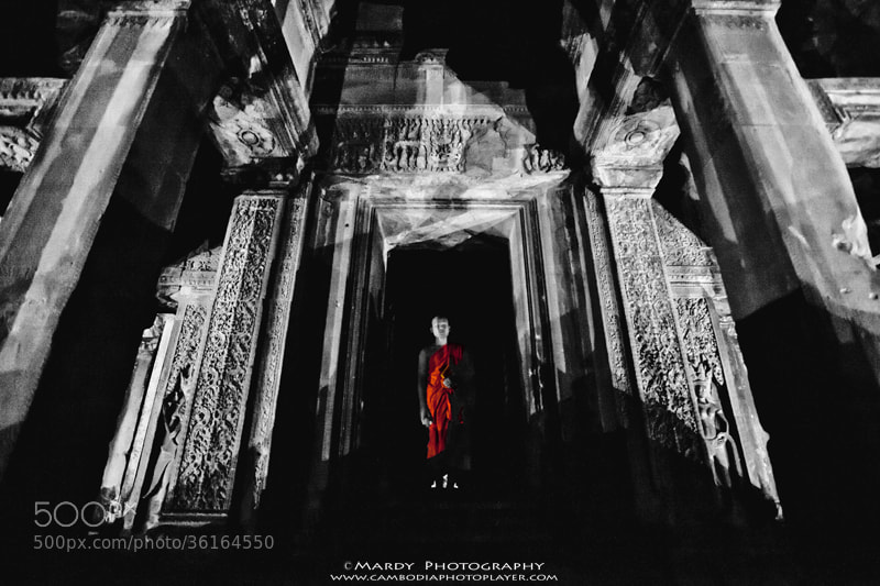 Photograph Monk in the middle of Angkor Wat! by Mardy Suong Photography on 500px