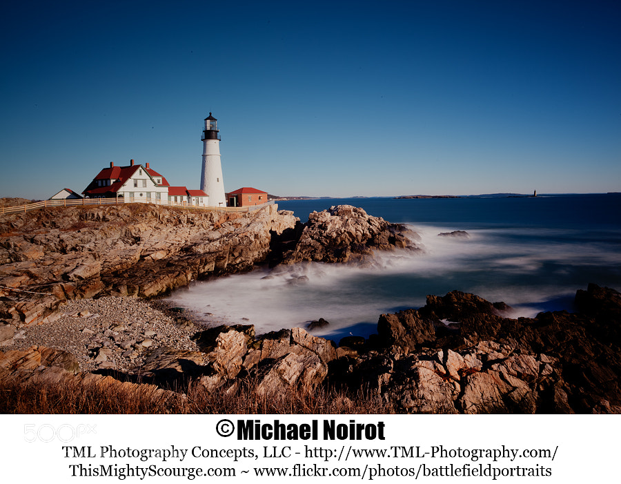 This is Portland Head Lighthouse - Portland, Maine. It is one of the most visited lighthouse in New England. This HDR captured image was processed using Photomatix Pro 4, combining four exposures.  Camera: Canon EOS 5D Mark II Lens: Canon EF 17-40mm f4L USM Zoom: 27mm Shutter: 41 seconds Aperture: f/22 ISO: 100