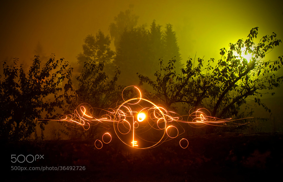 Photograph * Light painting on the mist * by clement jousse on 500px