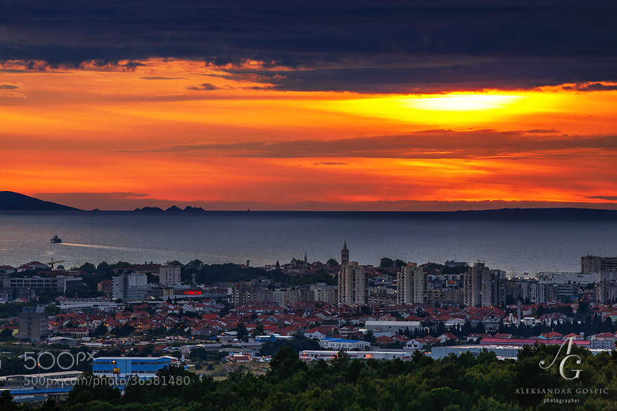 Sunset over Zadar and Adriatic sea, as clouds refuse to clear