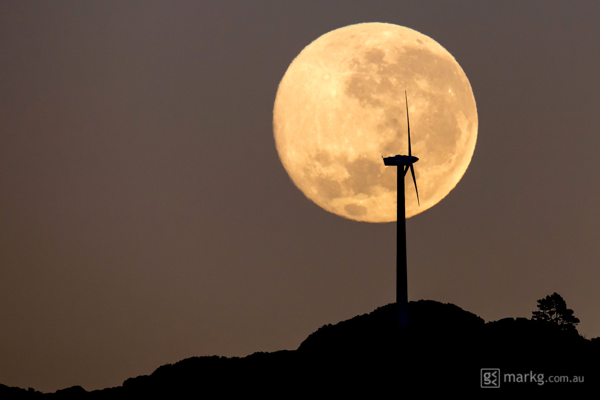 Photograph Moonset Over Brooklyn Wind Turbine by Mark Gee on 500px