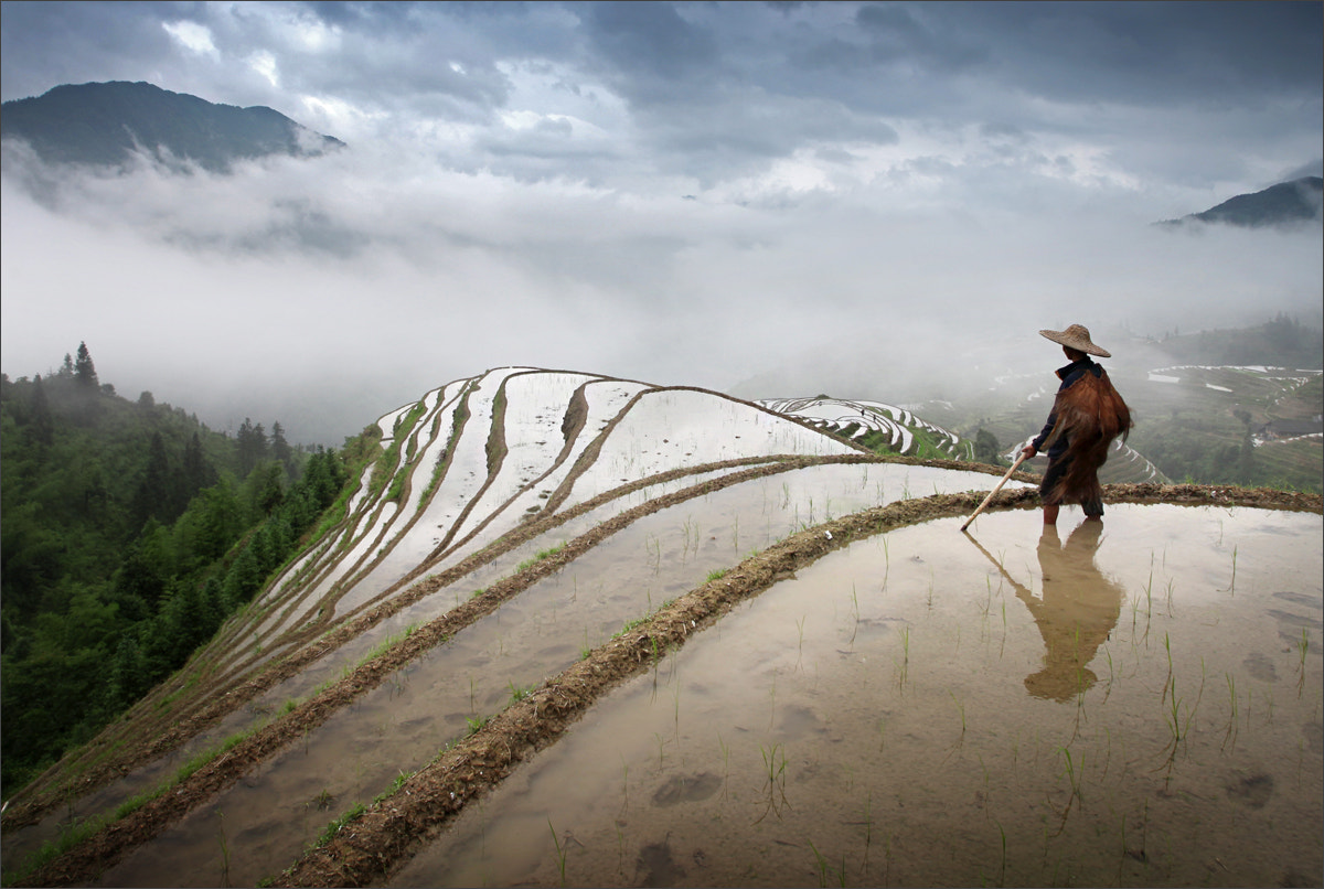 Photograph A farmer on Longji Rice Terrace by Woosra Kim on 500px