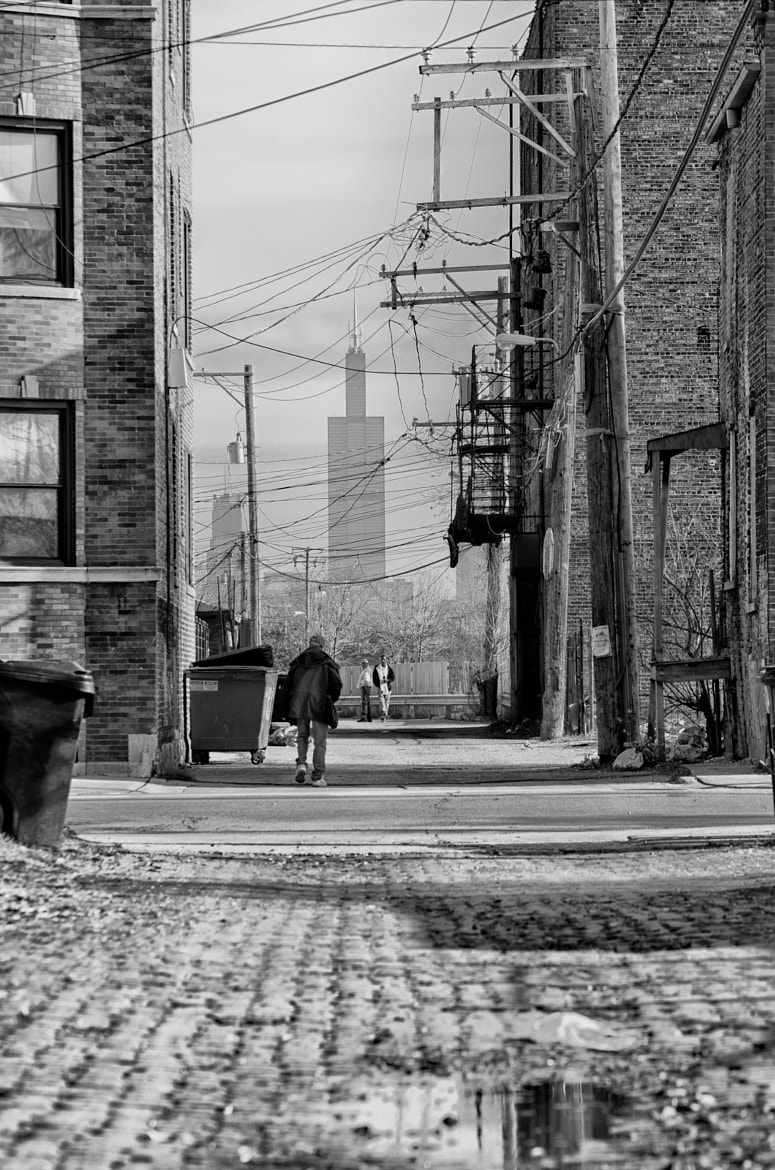 Photograph Sears Tower Through Alley by Dimitri Hepburn on 500px