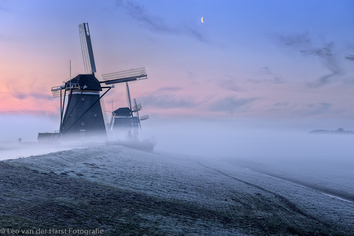Photograph Three windmills in fog at Sunrise by Leo  van der Harst on 500px