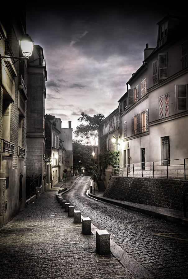 Photograph A street in montmartre at night Paris by Ramelli Serge on 500px