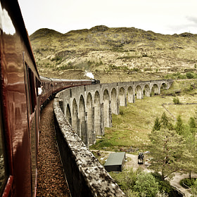 The Glenfinnian Viaduct on the inbound journey aboard the Jacobite Steam Train