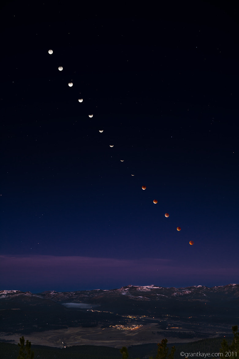 Photograph Dawn Lunar Eclipse Sequence, Truckee by Grant Kaye on 500px