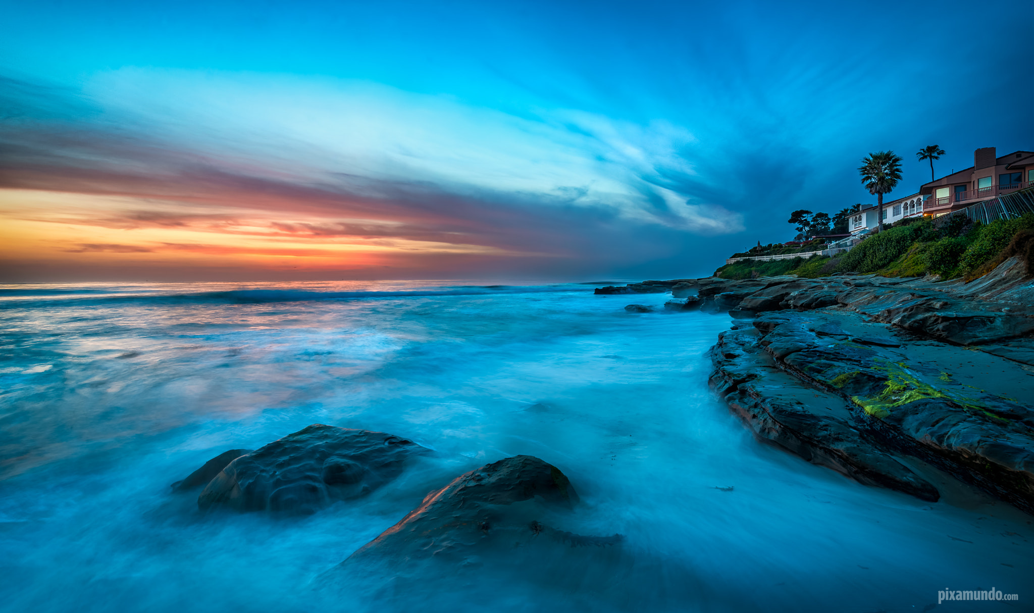 Photograph Fiery Sky Over The Blue La Jolla Beach by Pixamundo  on 500px