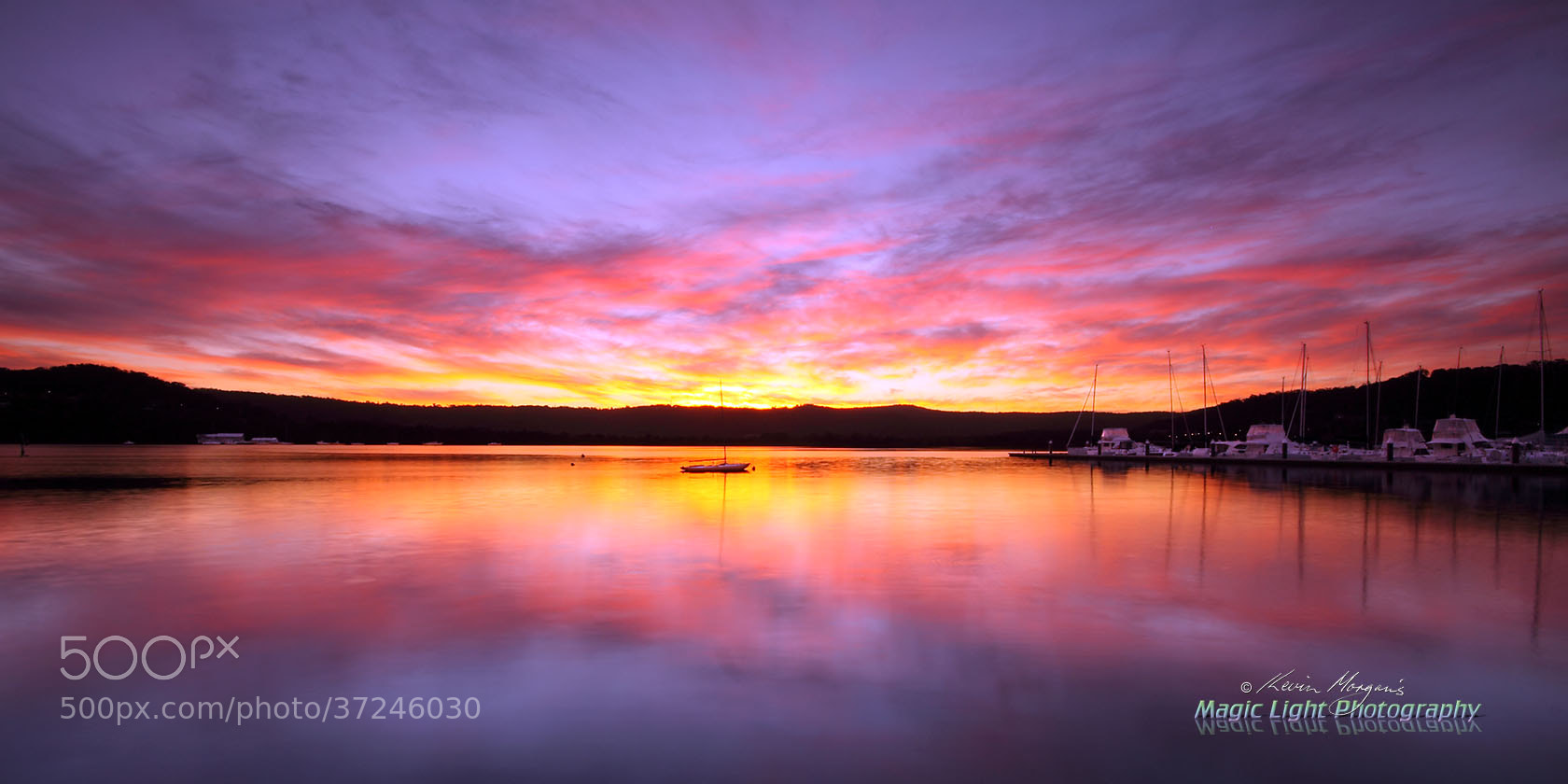 Photograph Gosford Sailing Club Sunset by Kevin Morgan on 500px