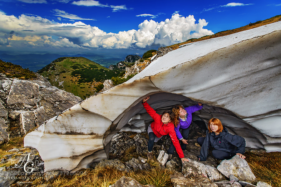 Desperate housewives observe with grief how their home on the highest peak of Velebit, Vaganski Vrh (1757m), slowly but surely melts away