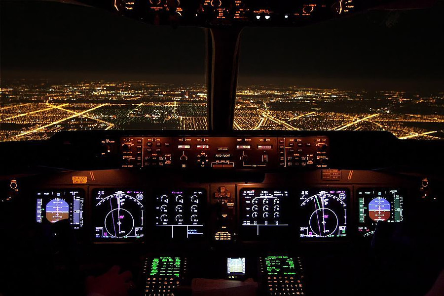 Photograph Night Approach Chicago OHare MD11 By Wilco 737 On 500px