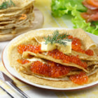 Постер, плакат: Pancakes with red caviar