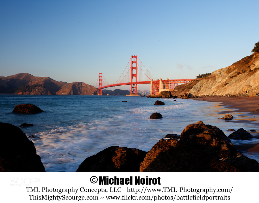 The Golden Gate Bridge from Marshall's Beach.  Camera: Canon EOS 5D Mark II Lens: Canon EF 17-40mm f4L USM Zoom: 40mm Shutter: 1/4 second +/- one stop Aperture: f/22 ISO: 100 Processed using Photomatix Pro 4
