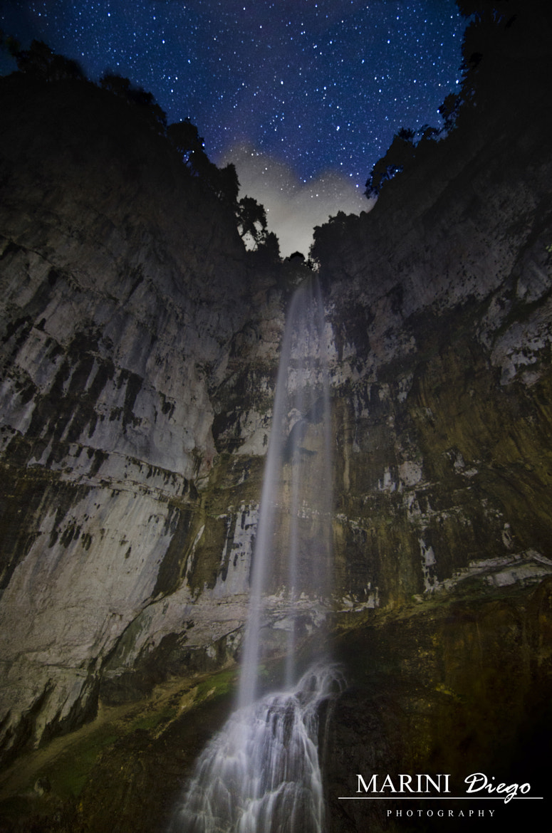 Photograph Cascata di Tret by night by Diego Marini on 500px