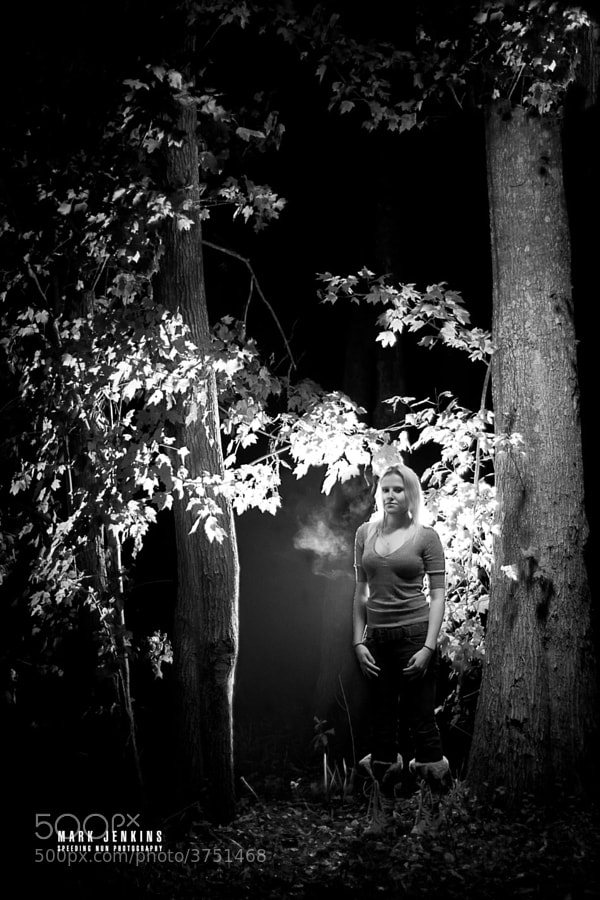 Somewhat impromptu photo shoot. I had lights, trees, a camera and a girl who was willing to stand there. Why not?