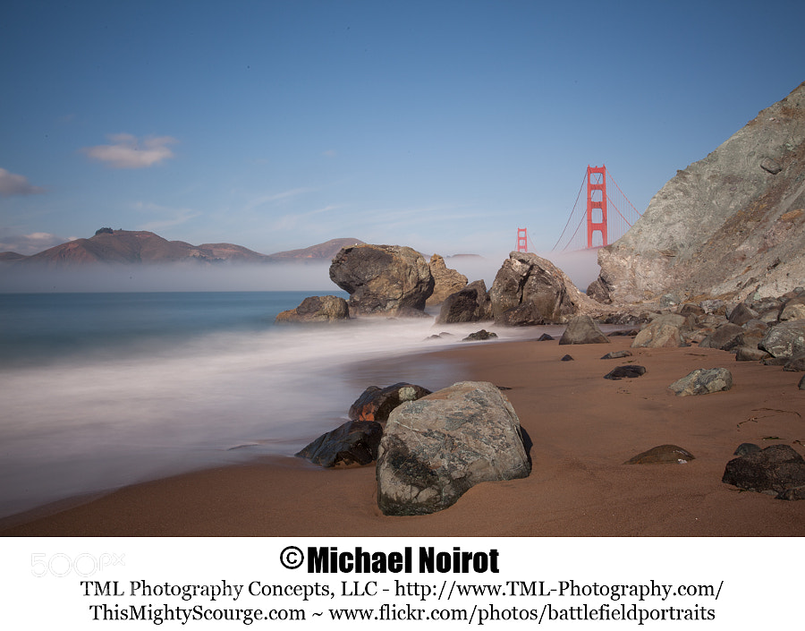 This is another picture from Marshall Beach. This picture was taken around 12 noon when the fog was lifting from the entrance to San Francisco Bay. I was able to lengthen the exposure by using a B+W 1,000X ND filter. I really like how the marine layer is still covering the bottom of the bridge and the long exposure made the surf look similar to the fog.  Camera: Canon EOS 5D Mark II Lens: Canon EF 17-40mm f4L USM Zoom: 30mm Shutter: 35 seconds Aperture: f/22 ISO: 100