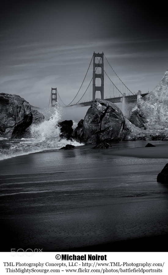 This picture was taken at Marshall's Beach in San Francisco. I wanted to create more depth than could be achieved in color and edited the photo in Silver Efex Pro 2. I like the results.  Camera: Canon EOS 5D Mark II Lens: Canon EF 24-105mm f4L IS USM Zoom: 58mm Shutter: 1/100 second Aperture: f/9.0 ISO: 100