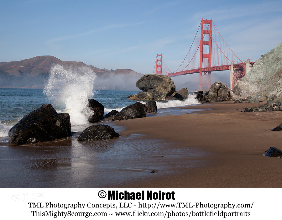 This is another angle of the Golden Gate Bridge from Marshall's Beach. This is amazing place to set up your tripod and settle in for an extended shoot. The surf, clouds and marine layer are constantly changing, so no two pictures are identical.  Camera: Canon EOS 5D Mark II Lens: Canon EF 24-105mm f4L IS USM Zoom: 55mm Shutter: 1/200 second Aperture: f/10 ISO: 200