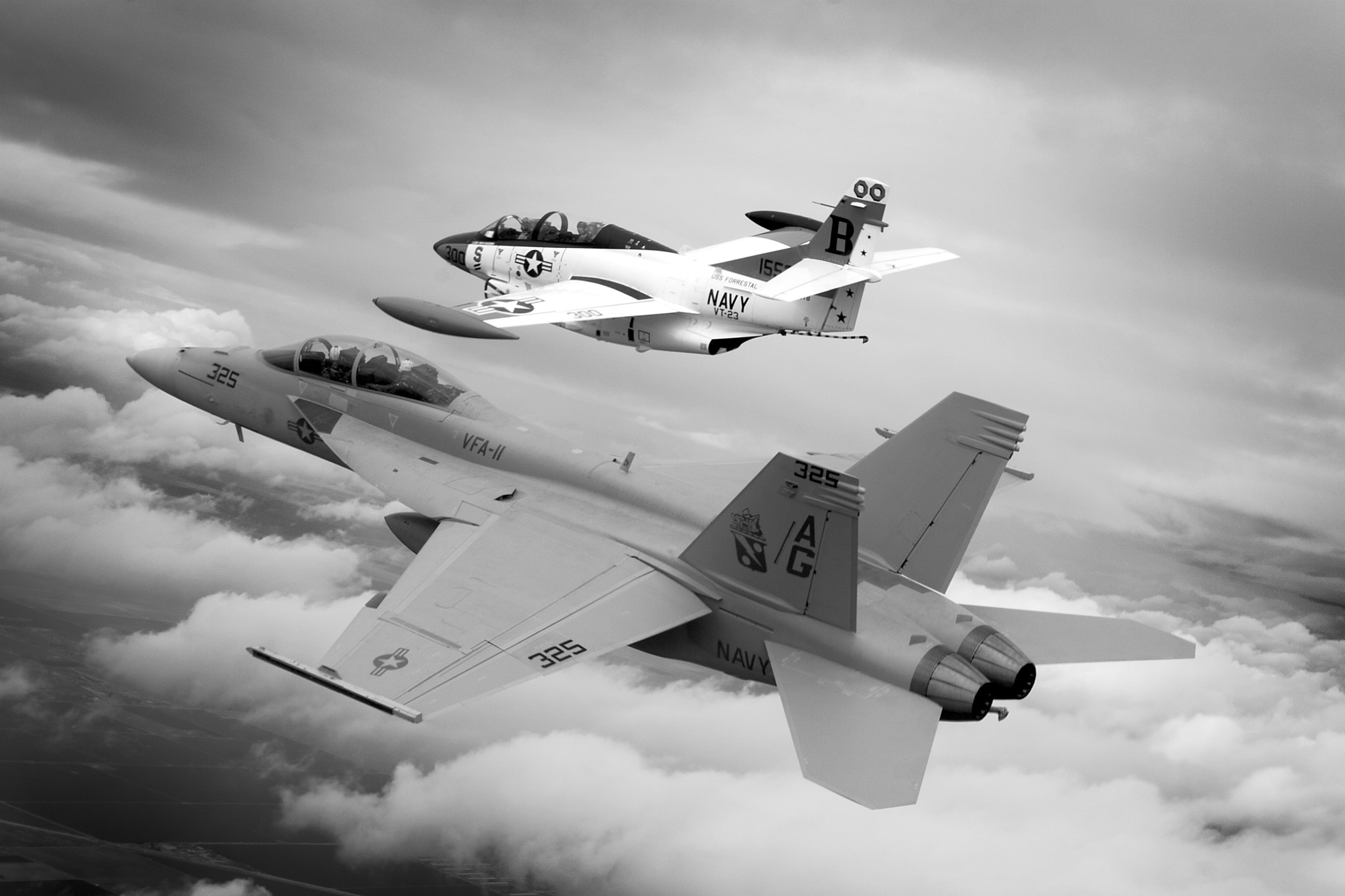 Photograph USN Legacy Flight with an F/A-18F and T-2 Buckeye by Tyson Rininger on 500px