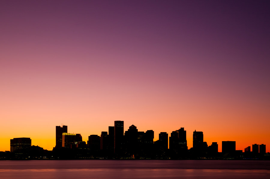 Boston at sunset on a chilly evening from the Harborside Hyatt