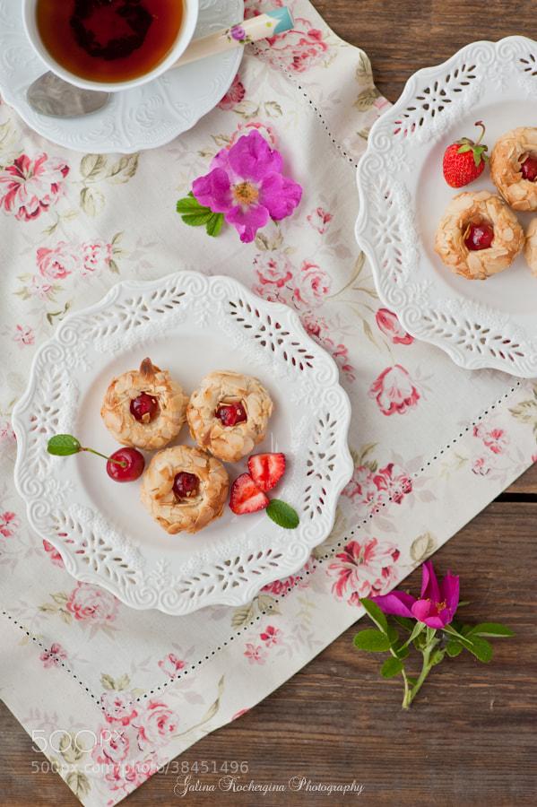 Photograph Almonds cookies with cherry by Galina Kochergina on 500px