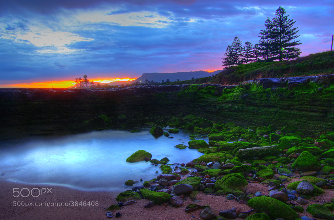 Photograph Cyan Pool, Flaming Sky by Reef Skipper on 500px