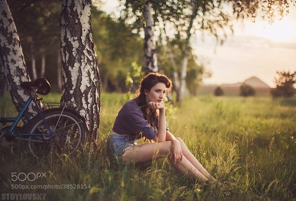 Photograph bicycle girl (wide fields of Rovenki) by Sergey Stoylovsky on 500px