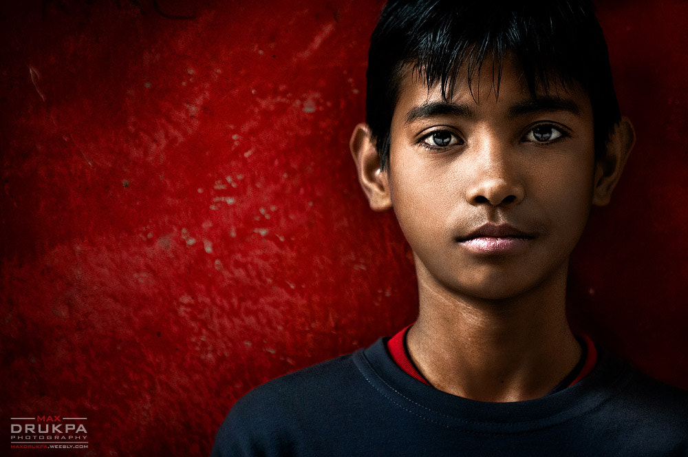 Photograph Boy and Red Wall by Max Drukpa on 500px