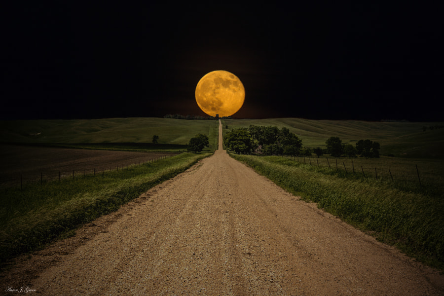 Road to Nowhere - Supermoon by Aaron J. Groen on 500px.com