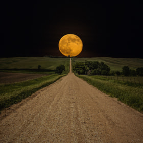 Road to Nowhere - Supermoon by Aaron Groen