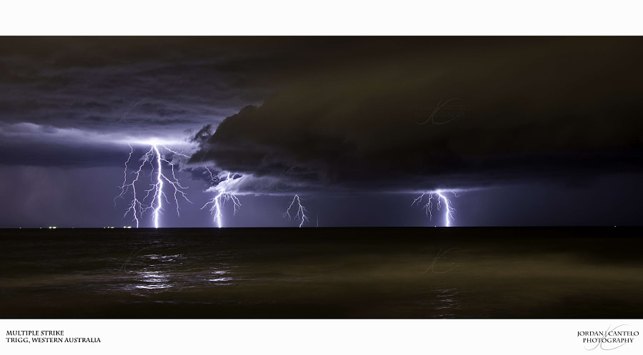 A intense lightning storm approaching Trigg Beach.