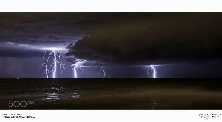 A intense lightning storm approaching Trigg Beach.