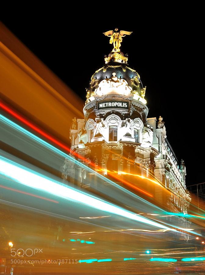 Emblematic Metropolis building at Gran Via street in the heart of Madrid, Spain