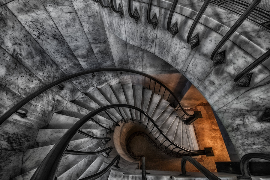 Stairwell located in Garfield Memorial leading to Crypts. Garfield Memorial is located in Lakeview Cemetery.