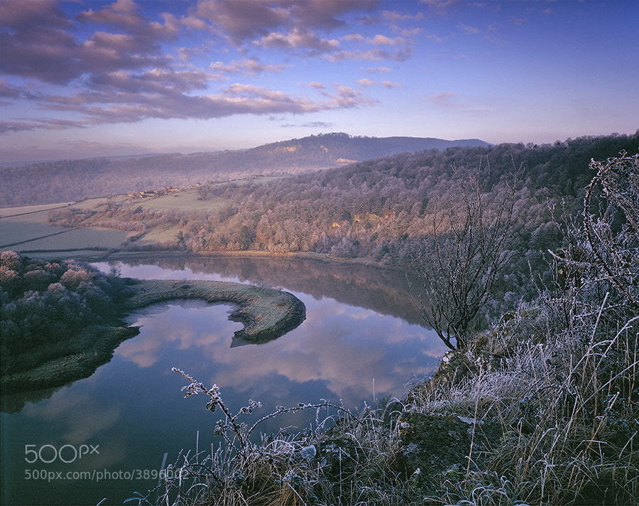 The river Wye at Wintours Leap with hoar frost.