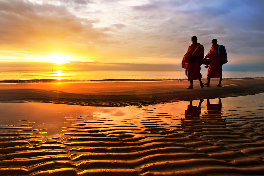Photograph Monk on the beach by Arthit Somsakul on 500px